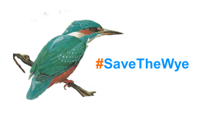#SaveTheWye logo with Kingfisher