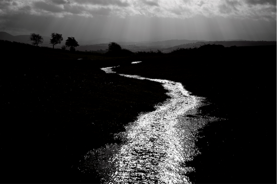 Sendero Luminoso - the shining path, Water pouring off the Begwns above Ffynnon Gwyneth and down towards Glasbury and the Wye. Photo taken looking south by Eamon Bourke.©