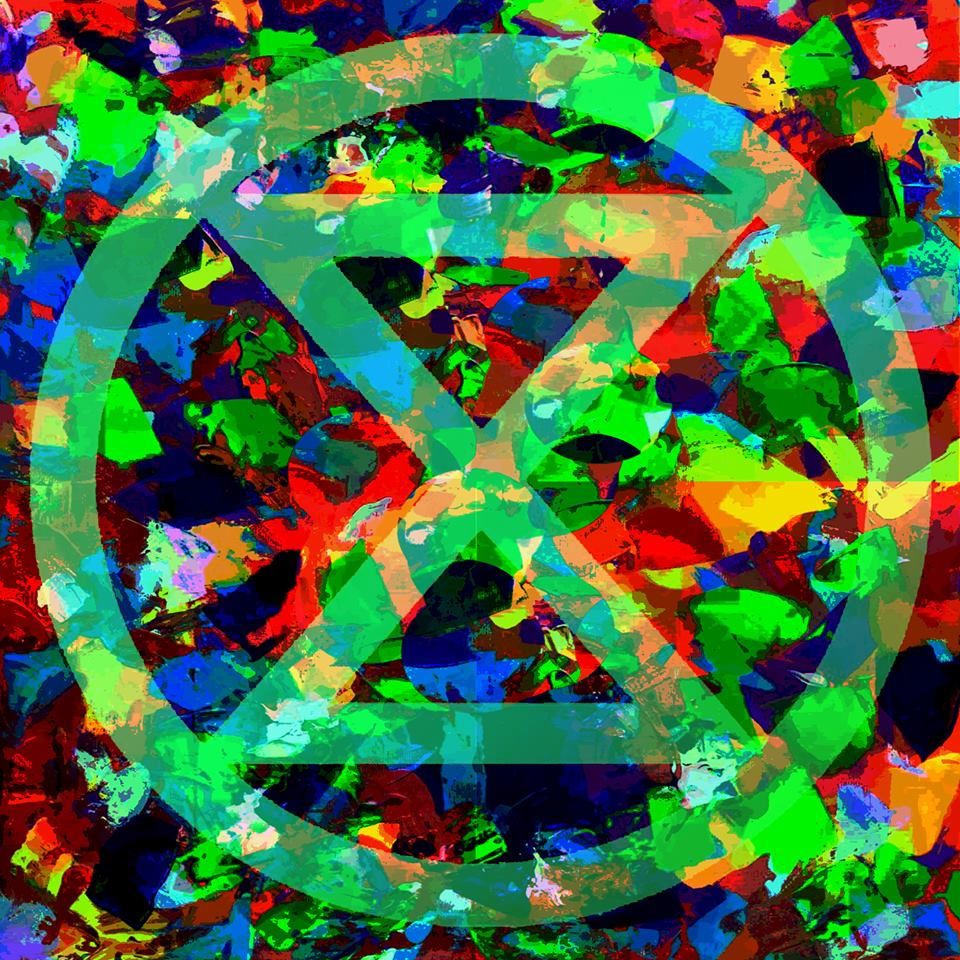 Extinction Rebellion hourglass over multicoloured background