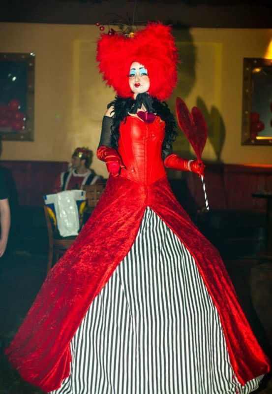Dressed as the Red Queen from Alice in Wonderland