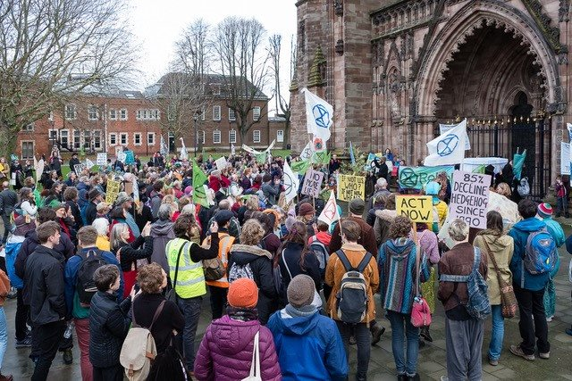 Extinction Rebellion Herefordshire - protestors outside Hereford Cathedral December 2018